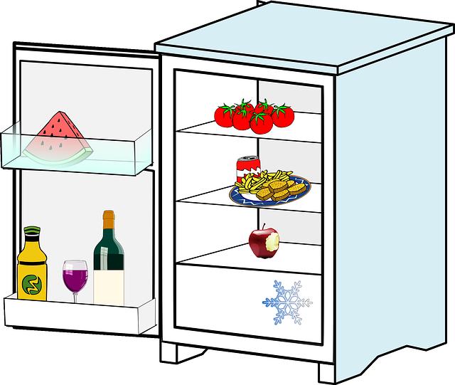 poloprázdná lednice