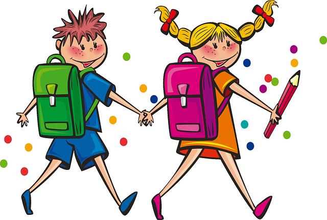 kreslený školáci