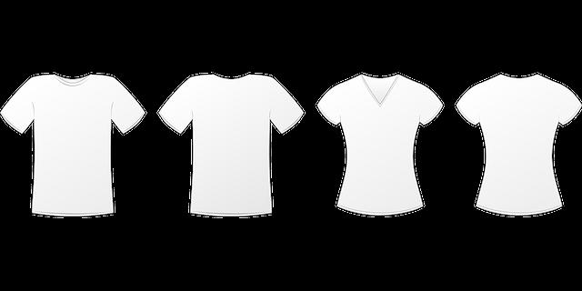 makety bílých triček, na které by se dalo tisknout